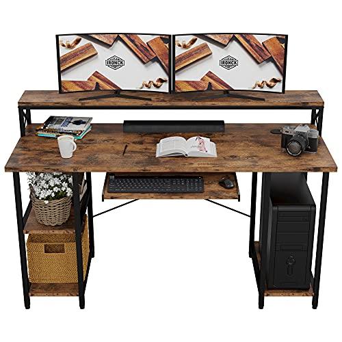 IRONCK Industrial Computer Desk 55', Office Desk with Printer Monitor Shelf...