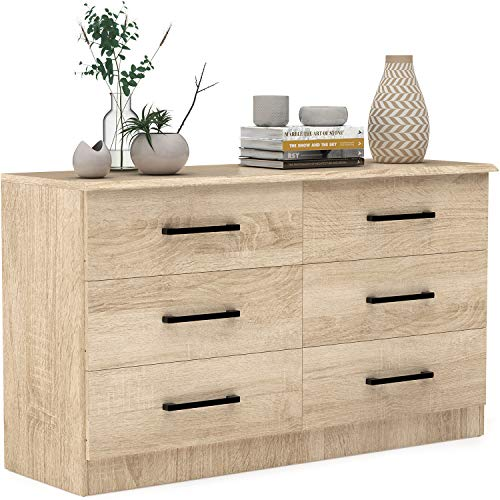 Vremi 6-Drawer Dresser – Light Oak Wood Bedroom Dresser with Spacious Drawers and Metal Handles – Strong and Sturdy Modern Storage Chest – Ideal for Bedrooms, Living Rooms, and Hallways