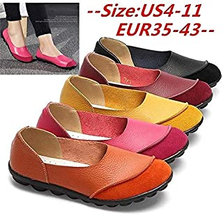 Plus Size 41/42/43 Guenine Leather Women's Flats Slip on Shoes No-Slip Loafers Solid Color Soft Sole Shoes Comfy Shoes(Size:35-43)(Orange,7.5)