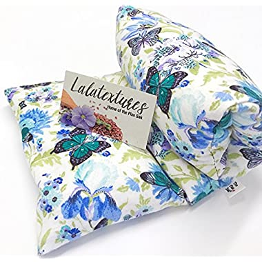The Flax Sak®, Lavender Scented Large Microwave Heating Pad With Washable Cover. Blue Butterfly
