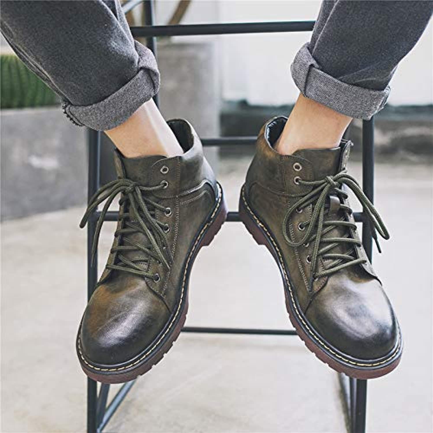 LOVDRAM Boots Men's Autumn High Men'S shoes Boots Martin Boots Men'S Vintage Cotton Ankle Boots In The Tooling Cotton shoes