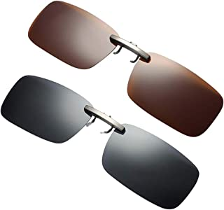 Lovoski 2pcs Men Women Popular Fashion Style Lens Clip-on Flip-up Myopia Sunglasses