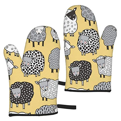 XCNGG Sheep Oven Mitts Fashion Soft Non-Slip Heat Resistant Safe Cooking Baking Grilling BBQ Party Kitchen Microwave Oven Funny Home