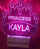 Princess Crown Night Light Multi Color Personalized LED Plug-in, Ultra-Slim Cool-Touch Night Light with Smart Dusk to Dawn Sensor, Children's Bedroom Kitchen, Bathroom, Hallway Night Light, Super Cool