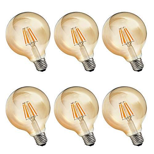 RANBOO Bombilla Edison Vintage 6W equivalente a 60W LED Retro Decorativa Bombillas Lamparas Blanco Cálido 2700K 600LM G80 E27 Antigua Lámpara Bulbo Filamento No regulable - 6 unidades