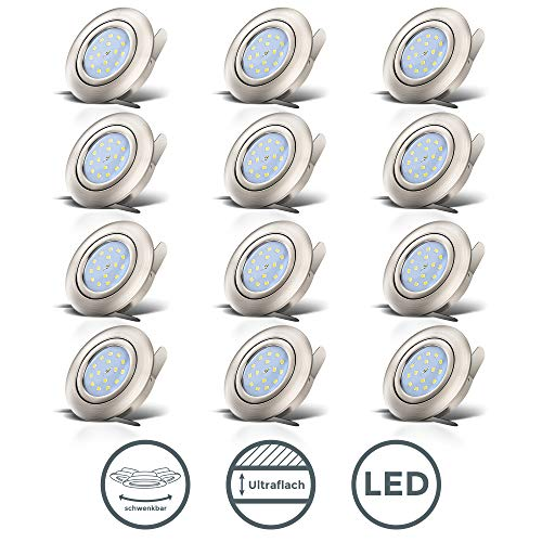 B.K. Licht lot de 12 spots LED encastrables ultra-plats, orientables, modules LED 5W intégrés, plafonnier design, éclairage encastré LED intérieur, blanc chaud 3000K, 230V, IP23
