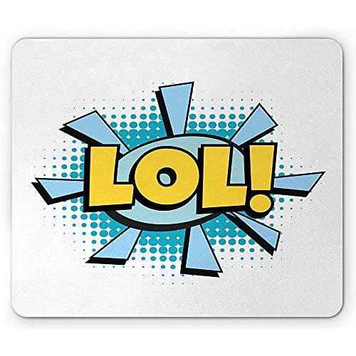 Lol Mouse Pad,Lol Comic Word Mit Einem Ausrufezeichen Retro Old School Cartoon,Rechteck Rutschfestes Gummi-Mauspad,Standardgröße,Baby Blue Sky Blue