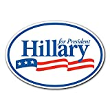 Adelia Co 6.5' x 4.5' Hillary Clinton for President Oval Bumper Sticker Decal - 2016 United States Presidential Election Candidate Ready for Democratic Party (1)