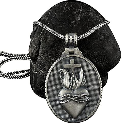 HYYSYQ Religioso Sagrado CorazóN Cruz Crucifijo Medalla Collar Colgante para Los Hombres Cristo Iglesia OracióN Fe Joyas Accesorios