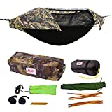 Camping Hammock Tent - Camo w/ Underquilt - Parachute Nylon - Portable, 1 Person Compact Backpacking - Outdoor & Emergency Gear - Tree Straps, Tie Ropes, Mosquito Net, Rain Fly