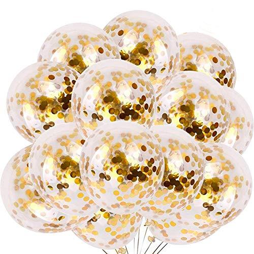 REYOK Gold Konfetti Ballons,60 Stück Latex Luftballons Konfetti Ballons Heliumluftballons Partyballon Rund Balloons für Hochzeit Geburstagsdeko, Babyparty Valentinstag Deko 30cm