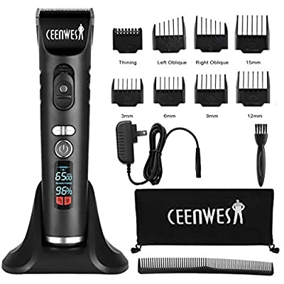 Ceenwes Hair Clippers Cordless Clippers Set Rechargeable Hair Trimmer Electric LED Display Haircut Kit for Men and Family Use with Charging Dock, Guide Combs,UK Adapter from Ceenwes