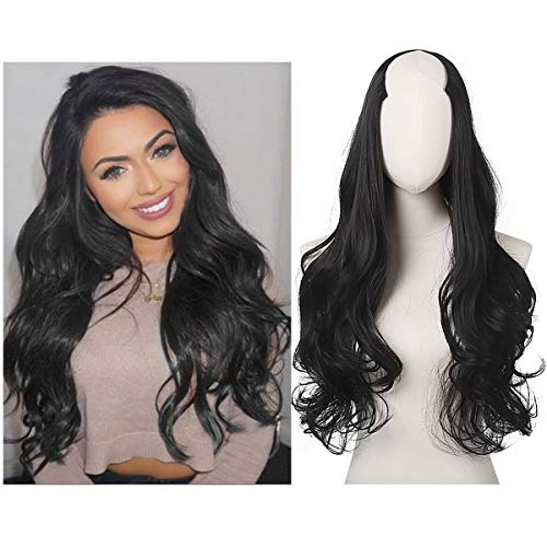 SARLA Half Wig For Black Women Clip in 26' Long Curly Hair Extension U Part Synthetic Hairpiece Thick Full Head Japan Heat Friendly Fiber UW01&2
