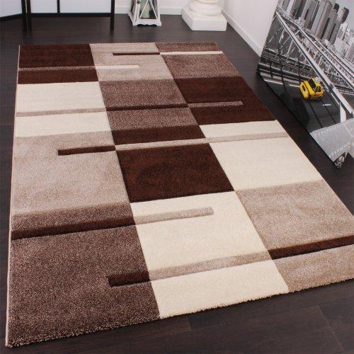 Paco Home Designer Teppich mit Konturenschnitt Karo Muster Beige Braun, Grösse:120x170 cm