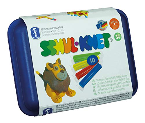 Nassmann 628.0110 – Schol-Knet – Lot de 10 bâtons de pâte à modeler multicolores dans une grande boîte de rangement réutilisable – Convient pour les enfants à partir de 3 ans – env. 180 g – Idéal comme cadeau pour les jeux créatifs