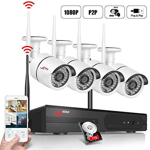 ANRAN Kit de Cámaras Seguridad WiFi Vigilancia Inalámbrica Sistema 4CH 1080P con 4Pcs Cámaras de videovigilancia 2MP inalámbrica,Interior y Exterior,IP66 Impermeable,Detección de Movimiento,1TB HDD.