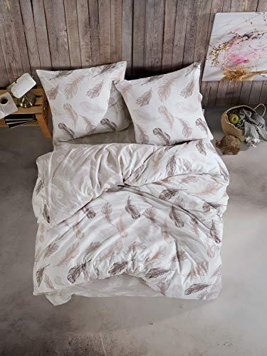 ZIRVEHOME Bettwäsche 200x220 cm Beige/Braun, 100% Baumwolle/Renforcé 3 teilig Wende Bettbezug Set Feder Muster mit 2 mal Kopfkissenbezug 80x80 cm. mit eißverschluss, Salem