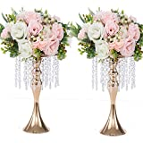 LANLONG 2PCS Acrylic Imitation Crystal Flower Stand Gold/Silver Flower Vase Wedding Centerpiece Lead Road Candlestick for Wedding Event Decoration (Gold, 13')