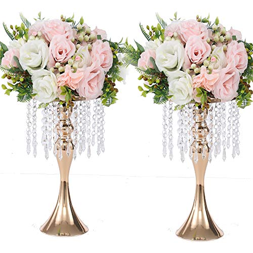 LANLONG 2PCS Acrylic Imitation Crystal Candle Holder Stand Gold/Silver Flower Vase Wedding Centerpiece Lead Road Candlestick for Wedding Event Decoration (Gold, 13