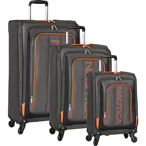 Nautica 3 Piece Luggage Set-Lightweight for Travel4, Grey/Orange Cas, One