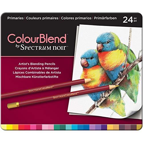 Spectrum Noir Jeu de 24 Crayons de Couleur Blend, 0, Primaries, 19.5 x 23.2 x 1.5 cm