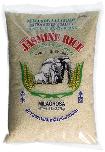 Three Elephants Thai Jasmine Rice, 5 Pound
