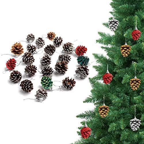 BELLE VOUS Pinienzapfen zur Weihnachtsdeko (24 Stück) Schneetupfen Natürliche Pinienzapfen mit Faden zum Aufhängen - Weihnachtsbaum Deko Kranz Girlande Hängedeko Weihnachten Pinienzapfen zum Basteln