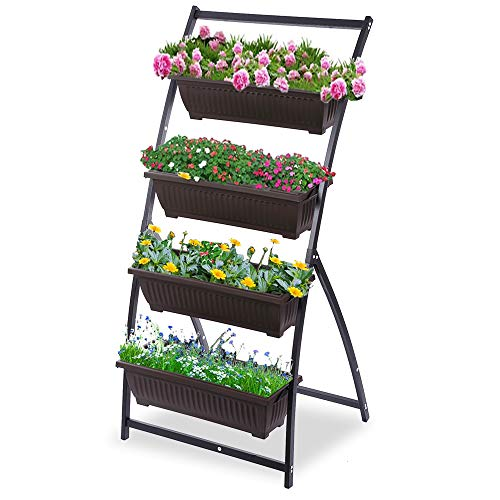 KHOMO GEAR Vertical Planter with 4 Urban Orchard Pots for Flowers and Plants Garden Terrace Balcony Indoor Outdoor – Brown and Black, 6ft