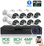 Jsmhh 4MP 8CH POE Kit de sistema de cámara de seguridad IP cámara IP IR H.265 grabación de audio WiFi cámara impermeable CCTV video vigilancia NVR Set para hogar/oficina/exterior