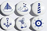 Navy Blue Nautical Drawer Pulls Ceramic Cabinet Knobs Nursery Decor/Set of 6 (All Navy Blue)