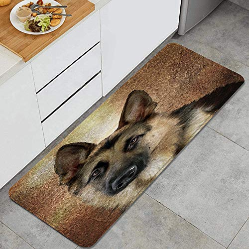 Home Decor Personalized Memory Foam Anti-Fatigue Kitchen Floor Mat,German shepherd portrait. Simulation of old painting style,Comfort Office Standing Area Rug Carpet Non Slip,47.2' x 17.7'