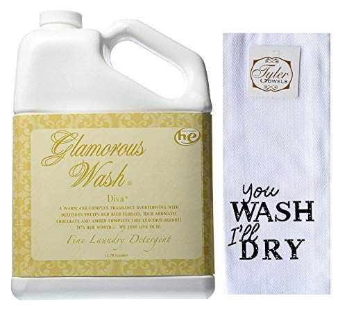 Designs by Ellis Tyler Candle Co. Diva Glamorous Wash Bundled with Tyler Towels You Wash, I'll Dry Hand Towel (Gallon)