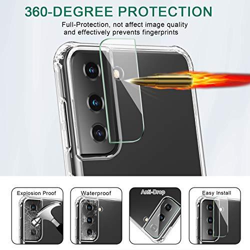 QITAYO Hülle Kompatibel mit Samsung Galaxy S21 + Panzerglasfolie + Kamera Panzerglas, Samsung Galaxy S21 Silikon TPU Soft Premium Case Anti-Kratzer Schock-Absorption Schutzhülle für Samsung Galaxy S21