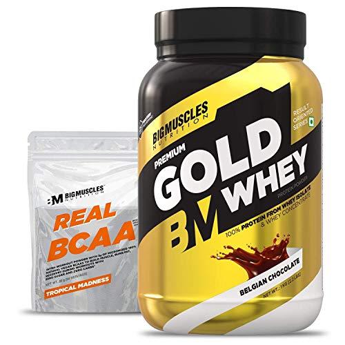 Bigmuscles Nutrition Premium Gold Whey 1Kg [Belgian Chocolate] |Whey Protein Isolate & Whey Protein Concentrate, 25g Protein Per Serving, 0g Sugar, 5.5g BCAA