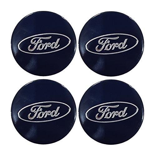 Set di 4 adesivi con loghi per coprimozzo, colore Blu