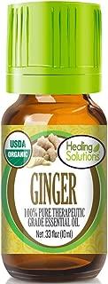Organic Ginger Essential Oil (100% Pure - USDA Certified Organic) Best Therapeutic Grade Essential Oil - 10ml