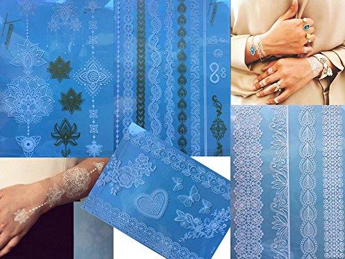 4 Feuille Tatouages temporaires Blanche et Or Henna Style White Gold Ara pour le corps Bijoux corporel