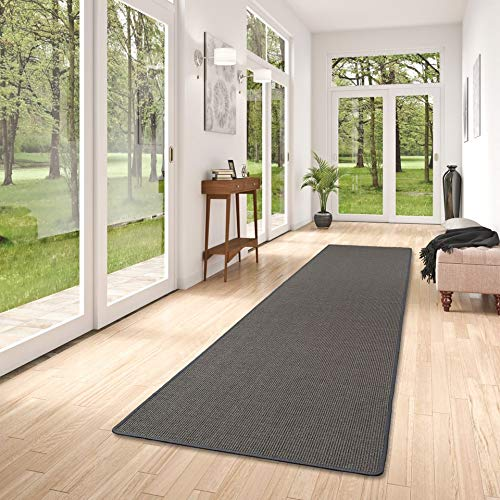 Astra - Sisal Nature - Tapis Long Couloir - Anthracite - 9 Tailles
