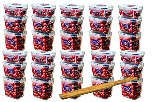 Lock&Lock Frischhaltedosen-Set 30-teilig gleiche Deckel (10x 550ml-Box, 10x 800ml-Box, 10x 1L-Box) stapelbar, leer ineinander schachtelbar und SeleXions Multifunktion Olivenholz Spachtel
