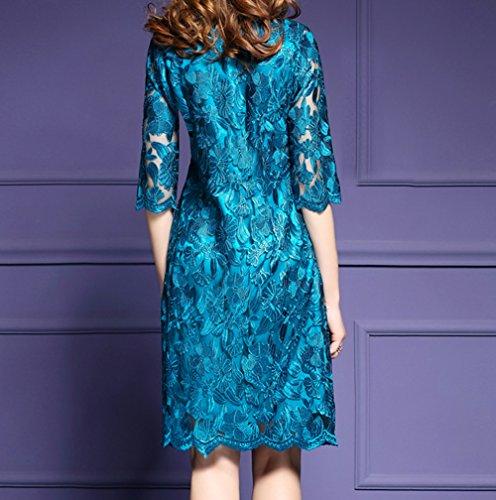 Women's Premium Blue Floral Lace 1/2 Sleeve Cocktail Party Mini Dress