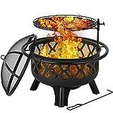 2in1 Feuerschale, 75*75*58cm, Feuerstelle mit Verstellbarem, abnehmbarem und 360° drehbarem Grillrost(Ø 54 cm), Funkenschutz & Schürhaken, Feuerkorb inkl. verbrühungssicherem Außenring