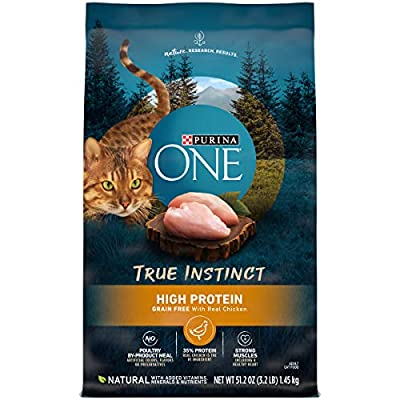Purina ONE Natural, High Protein, Grain Free Dry Cat Food, True Instinct With Real Chicken - 3.2 lb. Bag