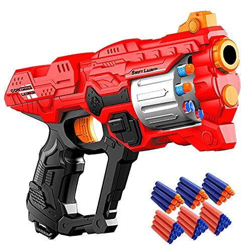 Pistola de Dardos para Flechas Nerf, Pistola Juguete con Cañón Giratorio para 8 Balas + 60 Dardos de Espuma, Juego de Disparos Infantiles, Juguete de Armas Regalos de Cumpleaños Niños de 6 a 15 Años