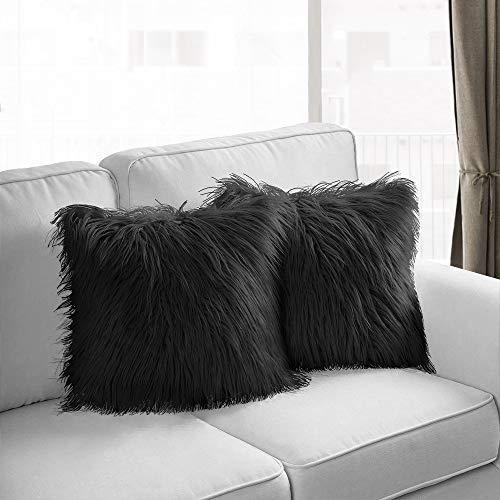 MACUNIN - Set di 2 federe decorative, in stile merino, super soffice, in finta pelliccia, per divano, camera da letto, auto, decorazione per auto, 18 x 18 pollici (nero, 18' x 18')