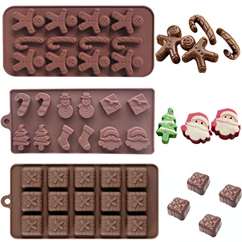 Christmas Silicone Chocolate Fondant Moulds Santa Claus Snowman Gift Box Xmas Tree Gingerbread Pudding Chocolate Candy Cookie Baking Mold for Cake Cupcake Decorating Sugarcraft Molds DIY Pack of 3