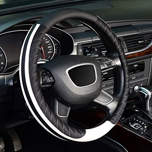 KAFEEK Steering Wheel Cover, Universal 15 inch, Microfiber Leather,Black White