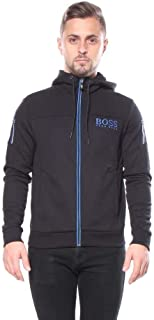 Hooded Sweatshirt with Contrast Zipper and Logo Detail' Black