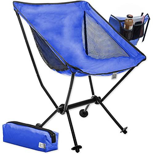 Moonchair Taburete de Camping Moon Chair XXL Silla Plegable Extremadamente cómoda Silla de Camping Asiento de Pesca (Azul)