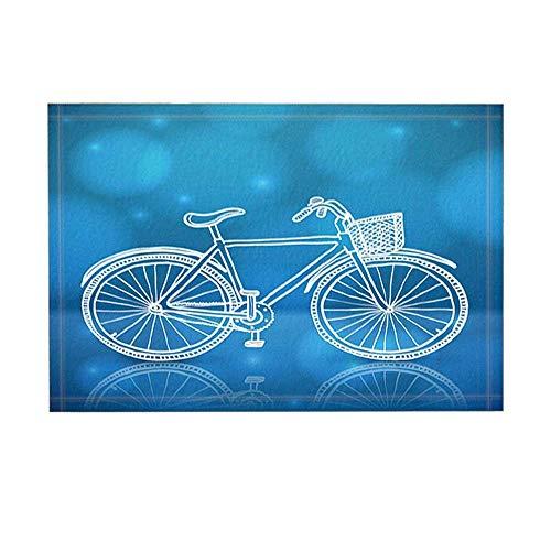 xuelizhou Blauwe achtergrond witte fiets Badkamer mat rechte hoek anti-slip deurmat kinderen 40X60CM