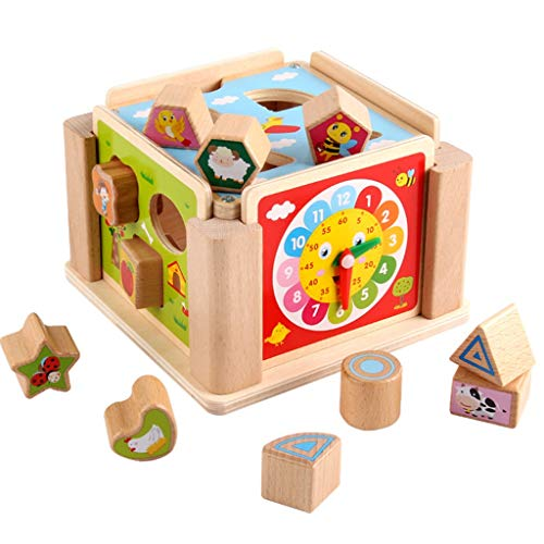 Best Review Of BJLWTQ Shape Sorter Toy Wooden Building Blocks Intelligence Box,Stacking Cups Geometr...